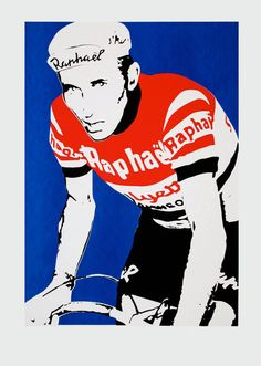 Hand made screen print of French cycling legend Jacques Anquetil. Limited edition of 15 prints.  The print is A2 in size. 420mm wide x 594 high.