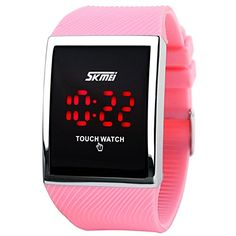 LinTimes Kids Boys Girls Touch Screen Watch 30M Water Resistance Digital LED Sport Casual Wristwatch for Teenagers Pink >>> Click image to review more details.Note:It is affiliate link to Amazon. #WomensWatches