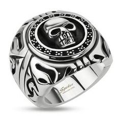Stainless Steel Skull Shield Wide Cast Ring