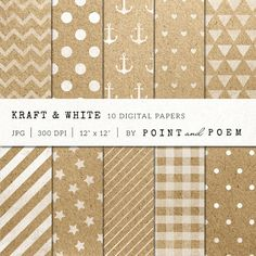 Kraft and White digital paper by Point and Poem on Creative Market