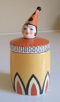 Noritake Art Deco Clown/Pierrot Lidded Pot--Rare | #877071099