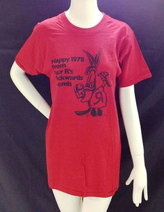 """""""Happy 1978 From Your R's Backwards Friends"""" T-shirt, Gift of Archie Motley, Chicago Historical Society, Photograph by Museum staff Historical Society, Archie, Chicago, Photograph, Museum, T Shirts For Women, Friends, Happy, Gift"""