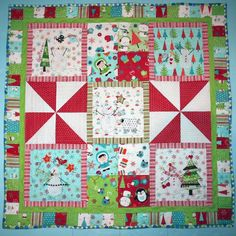 Snowbound Christmas Quilt by Bunny Hill Designs LIKE the aqua blue with red & whatever is last border.