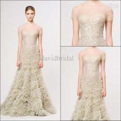 Wholesale Evening Dresses - Buy Free Shipping Handmade Beaded Cap Sleeve Reem Acra Long Formal Evening Drsses Cascading Ruffle Charming Party Prom Dresses Gowns Gorgeous, $159.02 | DHgate