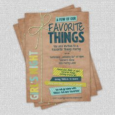 Favorite Things Party  5 x 7 Custom Invite  by partypixieinvites, $12.00