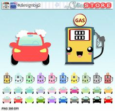 Gas station and car wash clipart stickers