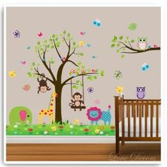 Owl Wall Stickers By Love Decors Tree Decal Mural Animal Elephant Deco Decor Nursery Bedroom Art Decoration Children Party Decorative Mural Removable Baby Kid's Bedroom Art Wallpaper: Amazon.co.uk: Kitchen & Home Nursery Wall Stickers, Nursery Art, Nursery Decor, Nursery Ideas, Bedroom Art, Kids Bedroom, Bedroom Ideas, Tree Decals, Butterfly Decorations