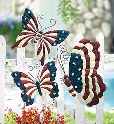 ~ Butterflies ~ What a sweet idea for a touch of the red, white & blue in the yard....