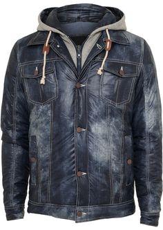 Urban Classics Hooded Denim Look Jacket Herren Winterjacke Blau Grau