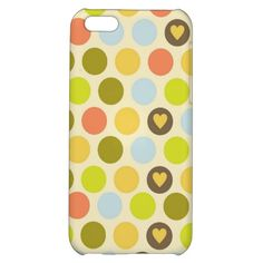 Retro Circles and Hearts Pattern Green Gold Blue iPhone 5C Cover SOLD on Zazzle