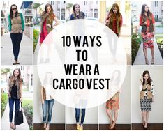 How to wear the cargo best I got from stitch fix! 10 Ways to Wear A Cargo Vest Fall Winter Outfits, Autumn Winter Fashion, Summer Outfits, Spring Fashion, Military Vest Outfit, Cargo Vest, My Unique Style, Green Vest, Fall Capsule Wardrobe