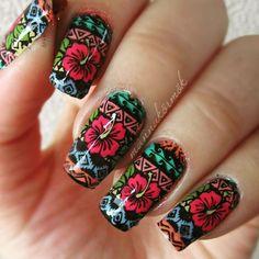 Tribal print flower nails