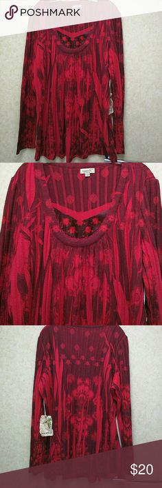 NWT One World top One World red/black knit top.  Heavier weight knit perfect for cooler weather.  Scoop neck with satin inset (see pic 2). ONE WORLD Tops