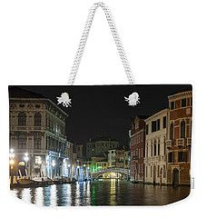 Weekender Tote Bag featuring the photograph Venice At Night by Silvia Bruno