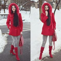 Winter style. Red outfit, Velvet red boots #redridinghood  Laura Serban