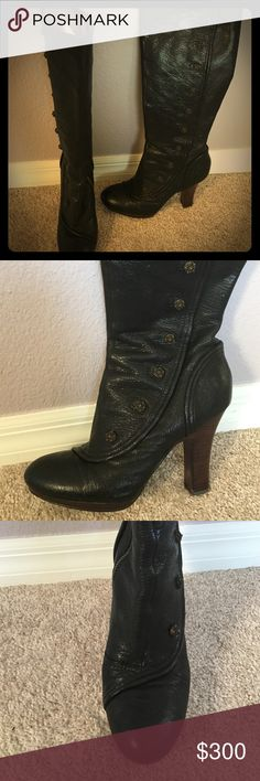 Frye Matilda Button Boots Mint condition Black Frye boots Frye Shoes Heeled Boots