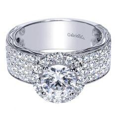 14K White Gold 1.63 ct Diamond Halo Engagement Ring Setting ER8986W44JJ - Pave Engagement Rings - Engagement Rings