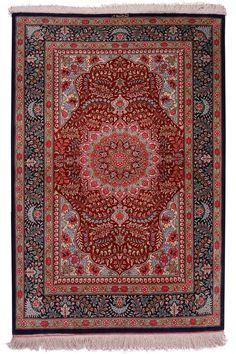 Qum Silk Carpet | Boutique Carpets - Oriental Rugs & Textiles in Cappadocia  ORIGIN: Iran - Qum AGE: New MATERIALS: Pure Silk DIMENSIONS: 121 x 81 cm
