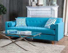 Furniture of America Idalia Modern Mid-Century Turquoise Blue Fabric Sofa Sofa Tv, Upholstered Sofa, Mid Century Modern Sofa, Mid Century Living Room, Sofa Furniture, Outdoor Furniture Sets, Furniture Outlet, Online Furniture, Furniture Movers