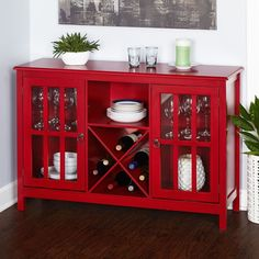 Buffets And Sideboards Dry Bar Wine Cabinet Table With Rack Server Credenza Red #SimpleLiving