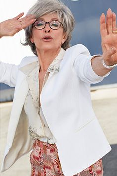 Advanced style, fashion over aging gracefully, silver hair, older women Rita Moreno, Advanced Style, Aged To Perfection, Ageless Beauty, Going Gray, Aging Gracefully, Fashion Over 50, Silver Hair, Timeless Fashion