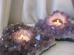 Amethyst candle holders.
