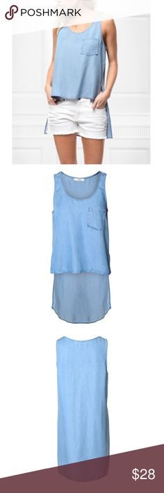 Light Wash Denim Pocket Hi-Low Top Casual cool. Perfect summer staple. The hi-low feature makes it all the more stylish and trendy. Devoted Tops Tank Tops