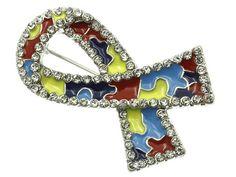 Autism Awareness Support Ribbon Lapel Pin Brooch