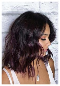Purple Brown Hair, Brown Hair With Highlights, Brown Blonde Hair, Light Brown Hair, Brown Hair Colors, Winter Hair Colors, Brown Hair With Purple Highlights, Subtle Purple Hair, Peekaboo Highlights