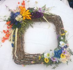 26 Inch by 26 Inch Square Summer Flower by FantasyFloralsbyKay Summer Flowers, Grapevine Wreath, Grape Vines, Florals, Wreaths, Fantasy, Trending Outfits, Unique Jewelry, Handmade Gifts