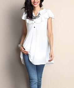 Another great find on #zulily! White Ruffle Notch Neck Cap-Sleeve Tunic #zulilyfinds
