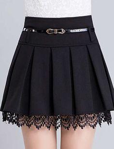 Women's Fashion Belt Waist Lace Trim A-Line Plain Pleated Mini Skirt Damenmode Gürtel Taille Lace Trim A-Line Plain Plissee Minirock – Fashion Belts, Girl Fashion, Fashion Dresses, Womens Fashion, Fashion Watches, Jeans Fashion, Fashion Fall, Fashion Fashion, Cute Skirts