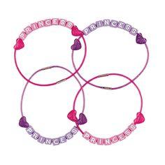 Rêves & Merveilles Set of 4 lovely princess bracelets, coming in two assorted colors / Set de 4 ravissants bracelets pour petites princesses, deux coloris assortis