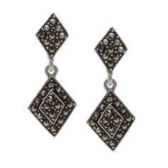 Gunmetal Brass Marcasite Dangle Earrings