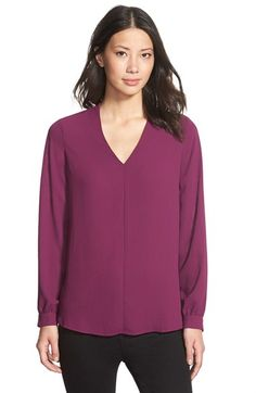 Pleione High/Low V-Neck Blouse (Regular & Petite) (Nordstrom Exclusive) | Nordstrom