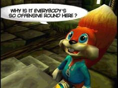 Conker's Bad Fur Day - More adult content on what was perceived as a children orientated console Mouth Game, Donkey Kong 64, All Video Games, Play Game Online, Conkers, Tech Toys, Xbox Games, Old Games, Super Smash Bros
