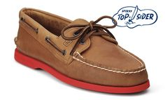 gonna cop these for my sockless summer too. luv the orange sole! Nautical Outfits, What Men Want, Sperry Boat Shoes, Leather Boat Shoes, Guy Friends, Red Sole, Orange Leather, Sperry Top Sider, Sperrys