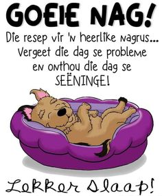 Lekker Dag, Good Night Blessings, Afrikaanse Quotes, Good Night Gif, Goeie Nag, Morning Coffee, Sweet Dreams, Languages, Phone