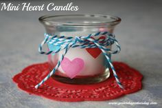Mini Heart Candles from http://yesterdayontuesday #valentinesday #candles #modpodge
