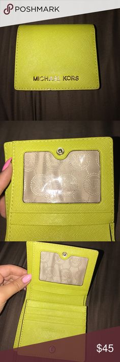 Michael Kors Wallet lime green wallet!  michael kors 💚 good condition, has one mark on inside as shown in picture  very convenient, holds a lot but isn't too big! Michael Kors Bags Wallets