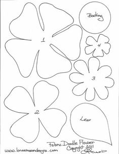 Free Printable Paper Flower Templates scissors paper and sewing decorative edge if desired pencil pattern is part of Paper flower template - Paper Flowers Diy, Handmade Flowers, Flower Crafts, Fabric Flowers, Paper Butterflies, Fabric Flower Pattern, Pattern Paper, Felt Patterns, Applique Patterns
