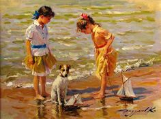 Konstantin Razumov (1974, Russian) Afternoon At Water's Edge