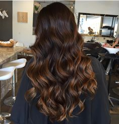Chocolate brown hair with warm caramel ombre bayalage
