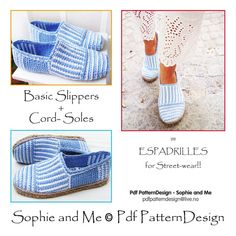 2in1-Pattern for Canvas Striped Slippers - Included Tailored CORD-Soles  - Instant Download
