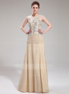Evening Dresses - $152.29 - A-Line/Princess Scoop Neck Floor-Length Chiffon Tulle Evening Dress With Lace (017019753) http://jjshouse.com/A-Line-Princess-Scoop-Neck-Floor-Length-Chiffon-Tulle-Evening-Dress-With-Lace-017019753-g19753