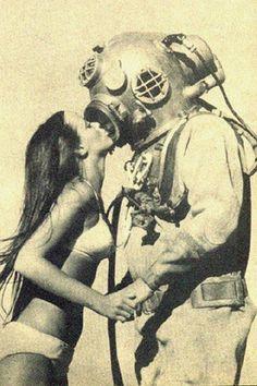 Deep Sea Diver Kiss Digital Art Print by FalstaffTrading on Etsy, $10.00