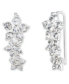 Anne Klein Flower Cluster Silver and Crystal Pierced Earrings * Check this awesome product by going to the link at the image. (This is an affiliate link) #Earrings