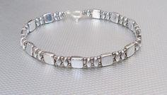 Bracciale in argento czechmate perline gioielli di di beadnurse