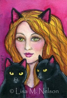 Original ACEO Cat Lady and Black Cats by BucksCountyDesigns, $27.00