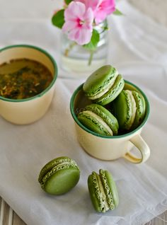 From My Lemony Kitchen ....: Green Tea Macarons (swiss meringue technique)